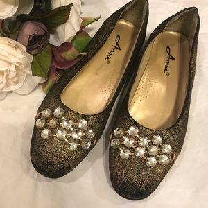 3/$25 Annie Flats Jewels Bronze 8.5 🌵